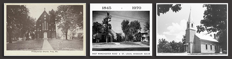 Images from the Presbyterian Historic Sites Storymap (left to right): Troy Presbyterian Church, Rock Hill Presbyterian Church, Bethel Presbyterian Church.