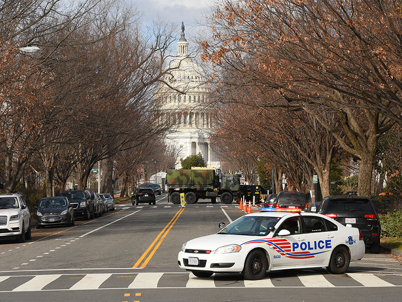 U.S. Capitol building in Washington D.C. under lockdown in January 2021. Photo by Amaury Laporte.