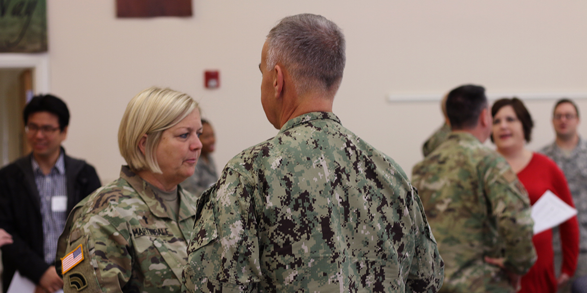 Chaplains, faith and military personnel interact during the forum in Fairfield. Photo by Rick Jones.