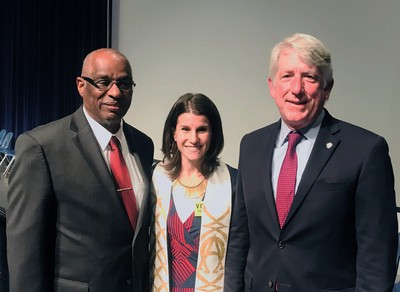 Rev. Clyde Ellis, Mt Olive Baptist Church; Rev. Rebecca Messman, Trinity Presbyterian Church Herndon, Va.; and Attorney General Mark Herring, a member of Leesburg Presbyterian Church. Photo provided.