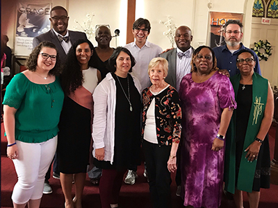 Members of the Vision 2020 Team worshipped recently with Grace Hope Presbyterian Church in Louisville, Kentucky. The pastor, the Reverend Angela Johnson, is at right, first row.