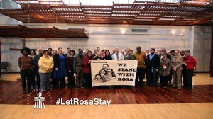 pcusa leaders and friends standing with rosa