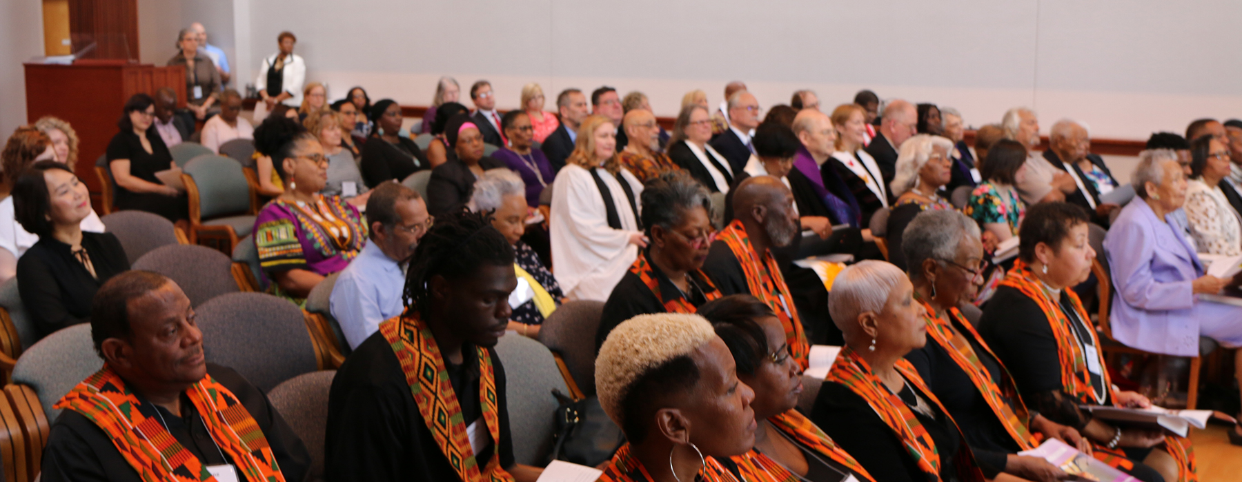 Image of guests attending memorial service celebrating the life of Rev. Robina Winbush. - Photo by Angie Stevens