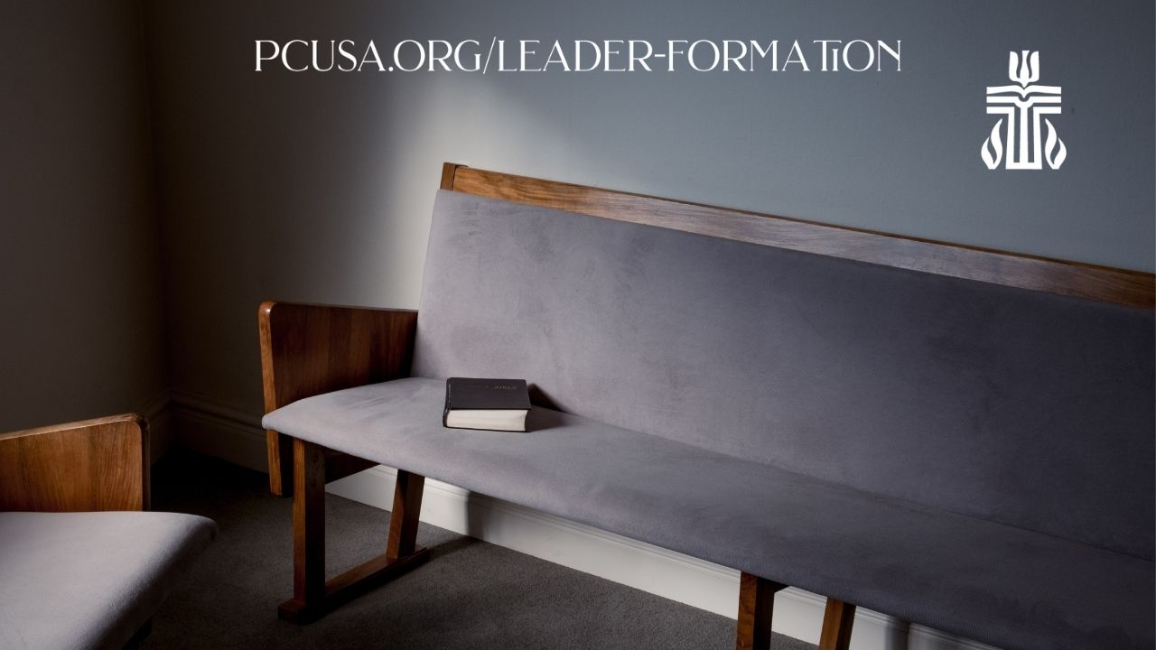 Year in Leader Formation Zoom Background Pew and Bible