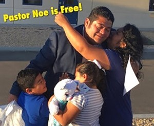 Pastor Noe and family at the moment of his release from detention.