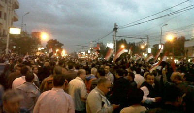 Protesters gather in the upscale Heliopolis district of Cairo outside the presidential palace.